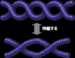 ピュアアクリル樹脂の伸縮の仕組み。