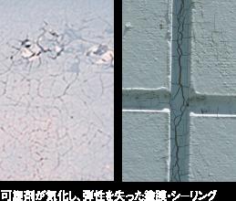 可塑剤が気化し、弾性を失った塗膜・シーリング